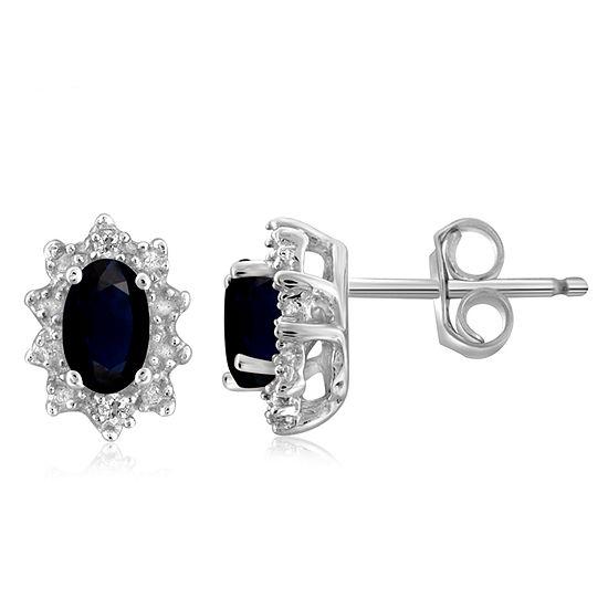 Diamond Accent Genuine Blue Sapphire Sterling Silver 8.2mm Stud Earrings
