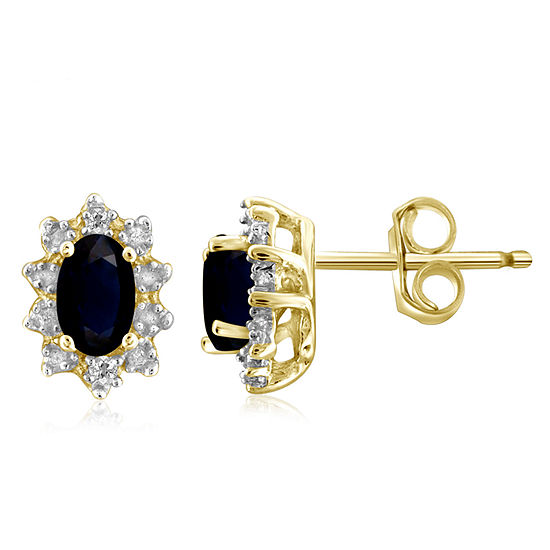 Diamond Accent Genuine Blue Sapphire 14K Gold Over Silver 8.2mm Stud Earrings