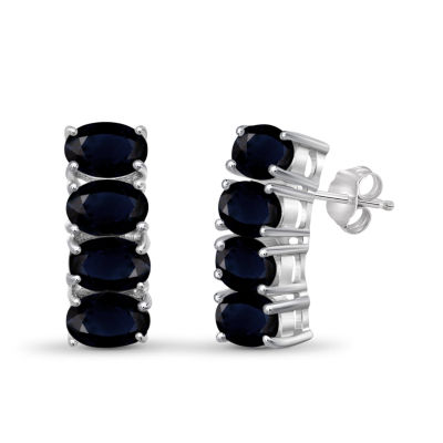 Blue Sapphire Sterling Silver Hoop Earrings