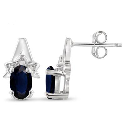 Diamond Accent Genuine Blue Sapphire Sterling Silver 11.8mm Stud Earrings