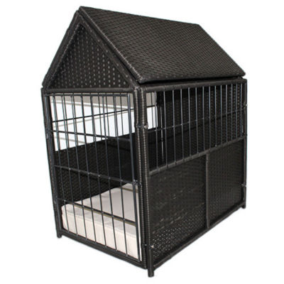 Rattan Pet Crate with Storage – Indoor/Outdoor