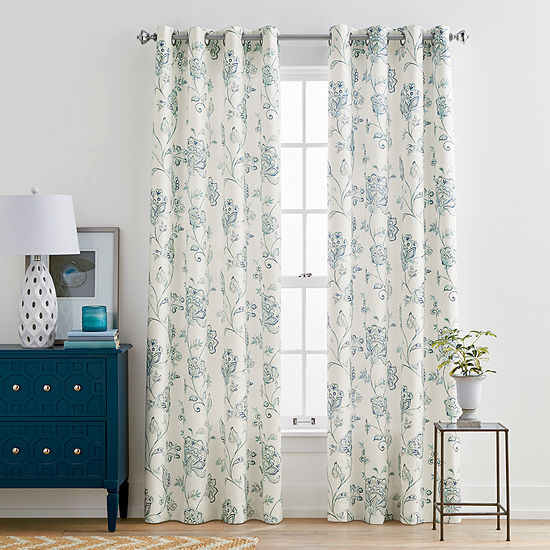 JCPenney Home Quinn Jacobean Grommet Top Curtain Panel