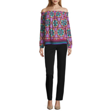 jcpenney.com | Nicole by Nicole Miller Long Sleeve Smocked Top or Skinny Ankle Pants