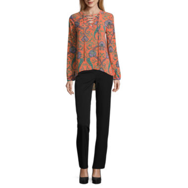 jcpenney.com | Nicole by Nicole Miller Lace Up Top or Skinny Ankle Pants