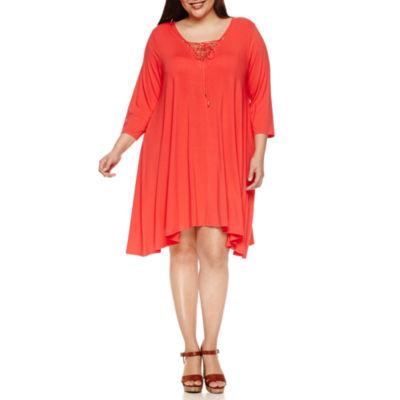 Boutique + 3/4 Sleeve Lace up Knit Swing Dress-Plus