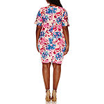 Boutique + Short Sleeve Floral Bodycon Dress-Plus