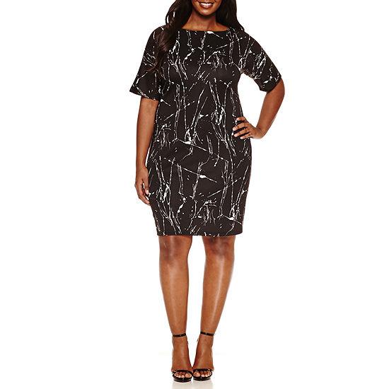Boutique +-Plus Short Sleeve Floral Bodycon Dress