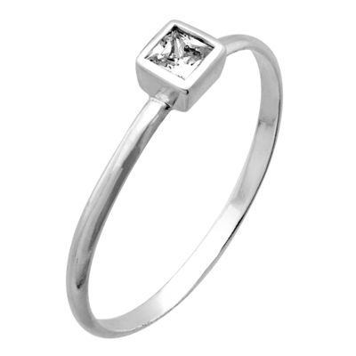 Itsy Bitsy Womens Clear Sterling Silver Square Stackable Ring