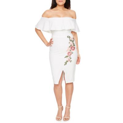 Premier Amour Off The Shoulder Embroidered Sheath Dress