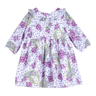 Marmellata Printed Crepe Dress Long Sleeve A Line Dress