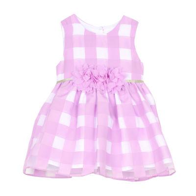 Marmellata Lavender White Check Dress Sleeveless Dress - Baby Girls