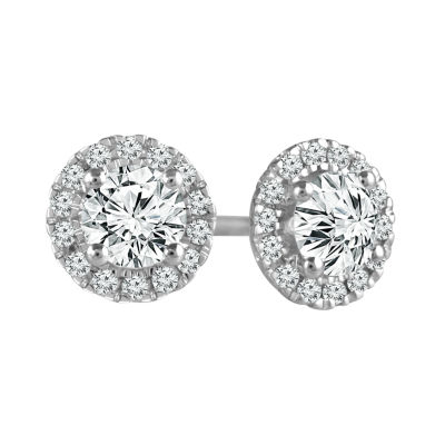 1/2 CT. T.W. Genuine White Diamond 10K White Gold 5.8mm Stud Earrings