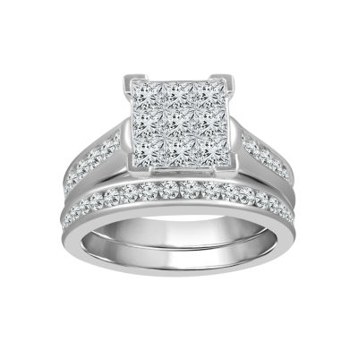 Womens 2 CT. T.W. Multi-Shape White Diamond 10K Gold Engagement Ring