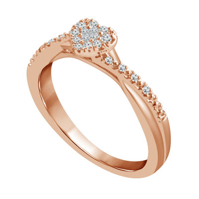 Promise My Love Womens 1/8 CT. T.W. Genuine White Diamond 10K Rose Gold Promise Ring