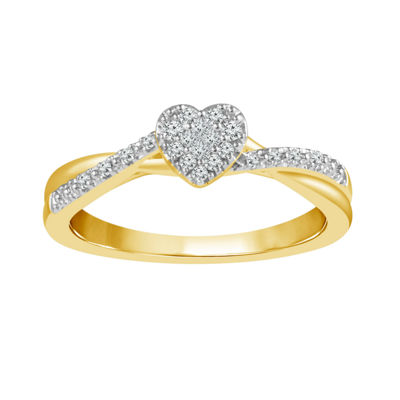 Promise My Love Womens 1/8 CT. T.W. Genuine White Diamond 10K Gold Promise Ring