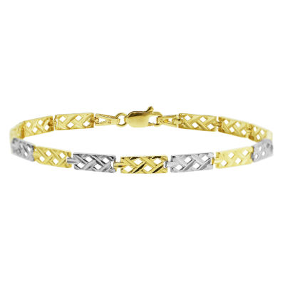 10K Two Tone Gold 7.5 Inch Semisolid Braid Chain Bracelet