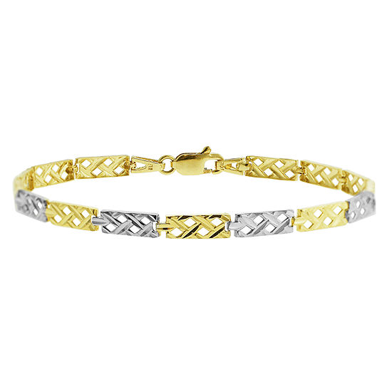 10K Two Tone Gold 7.5 Inch Semisolid Braid Chain Bracelet