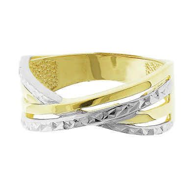 Made in Italy Womens 8.5mm 14K Two Tone Gold Band