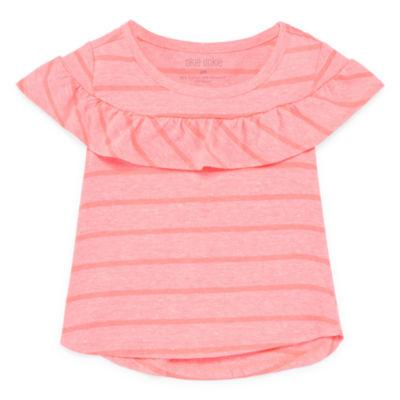 Okie Dokie Stripe Ruffle Short Sleeve T-Shirt-Baby Girls Newborn-24M