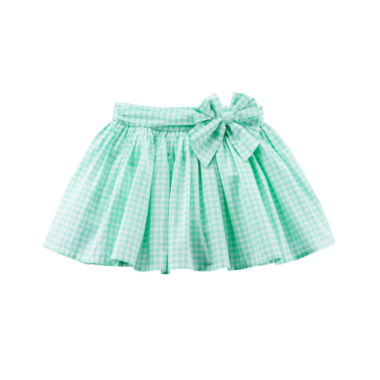 Carter's Green Gingham with Bow Waist Skirt - Preschool Girls