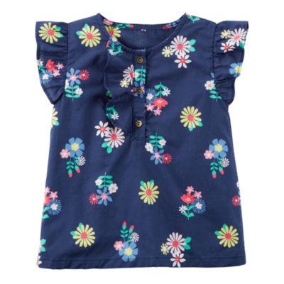 Carter's Round Neck Short Flutter Sleeve Blouse - Toddler Girls