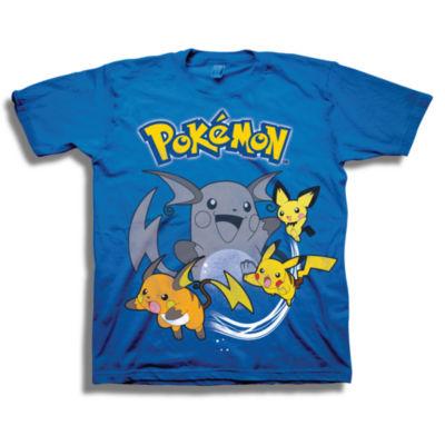 Boys Crew Neck Short Sleeve Pokemon Graphic T-Shirt-Big Kid