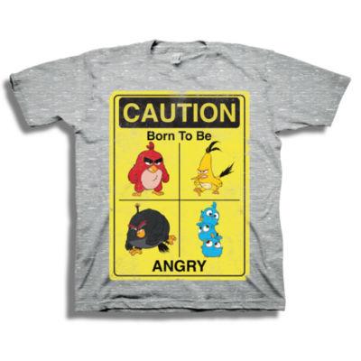 Boys Crew Neck Short Sleeve Angry Birds Graphic T-Shirt-Big Kid