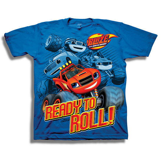 Boys Crew Neck Short Sleeve Blaze and The Monster Machines Graphic T-Shirt - Preschool