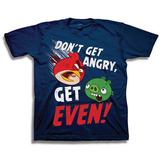 Boys Crew Neck Short Sleeve Angry Birds Graphic T-Shirt - Big Kid