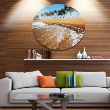 Designart Beautiful Beach with Row of Palms Seascape Metal Circle Wall Art