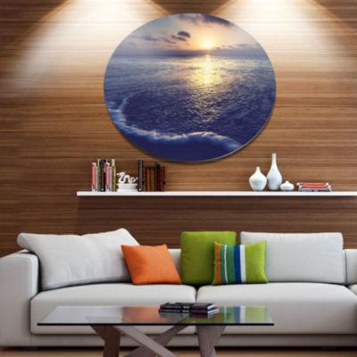 Designart Tranquil Blue Beach At Sunset Seascape Metal Circle Wall Art
