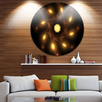 Designart Glowing Yellow Radial Fractal Flower ArtFloral Metal Circle Wall Art