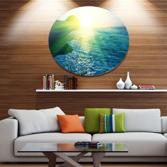 Designart Foaming Blue Waves Seashore Metal CircleWall Art