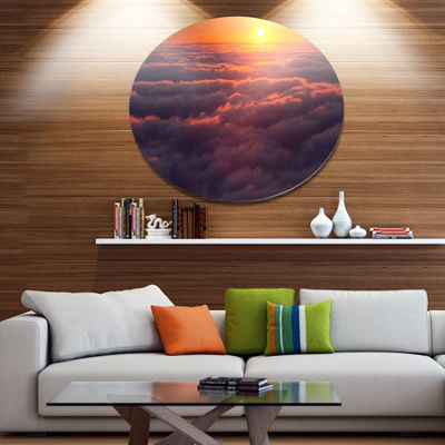 Designart Amazing Sunset View over Clouds Landscape Metal Circle Wall Art
