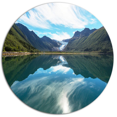 Designart Svartisen Glacier in Norway Landscape Metal Circle Wall Art
