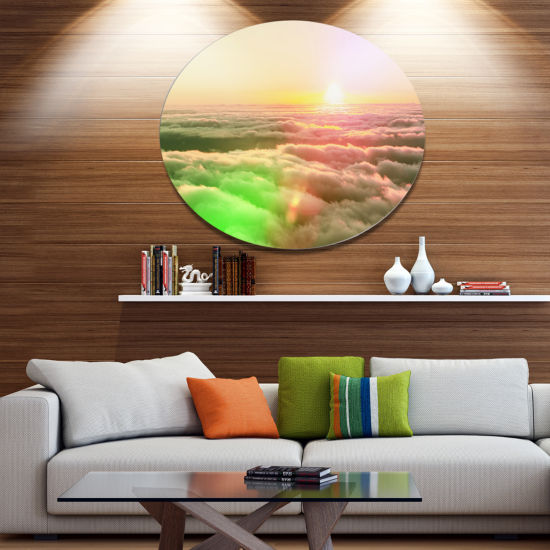 Designart Sunset on Hills Above Clouds Landscape Metal Circle Wall Art