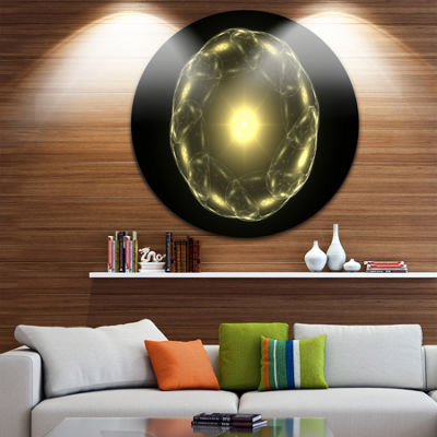 Designart Shiny Bright Yellow Radial Fractal Flower Floral Metal Circle Wall Art