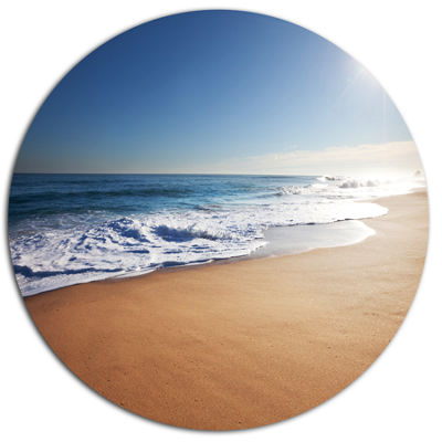 Designart Calm Blue Beach under Bright Sun Seascape Metal Circle Wall Art