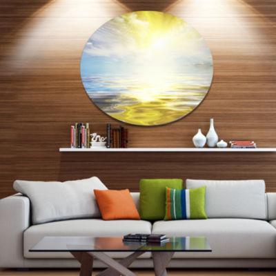 Designart Wavy View of Sea in Yellow Blue SeashoreMetal Circle Wall Art
