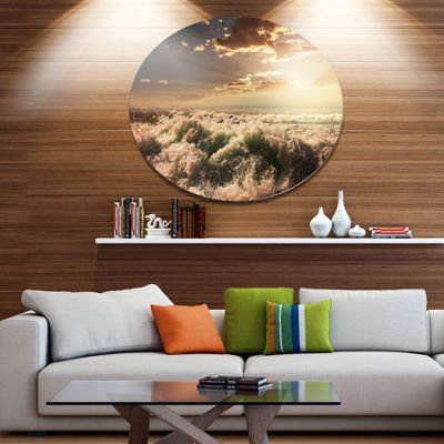 Designart Troubled White Waves on Beach Seascape Metal Circle Wall Art