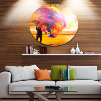 Designart Man with Balloons in Night Abstract Metal Circle Wall Art