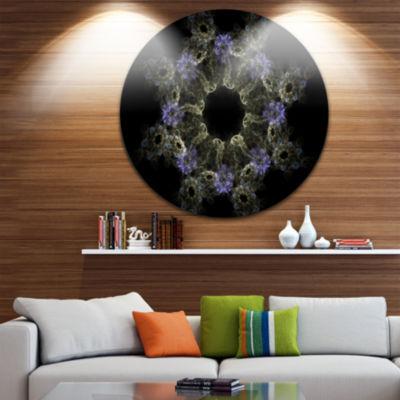 Designart Glowing Radial Fractal Flower in PurpleFloral Metal Circle Wall Art