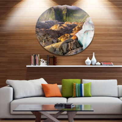 Designart Hike in Norway Mountains Landscape MetalCircle Wall Art