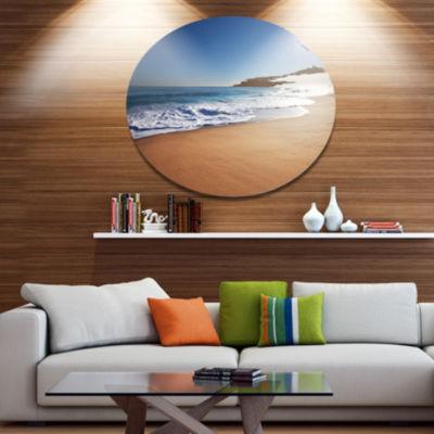 Designart Calm Blue Beach under Bright Sun Seascape Metal Circle Wall Art