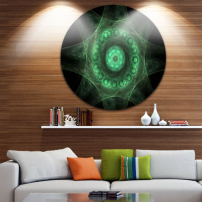 Designart Growing Radial Green Fractal Flower ArtFloral Metal Circle Wall Art