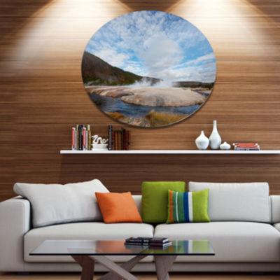Designart Yellowstone under Bright Clouds Landscape Metal Circle Wall Art