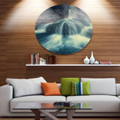 Designart Hot Spring thermopiles Greece Seascape Metal Circle Wall Art