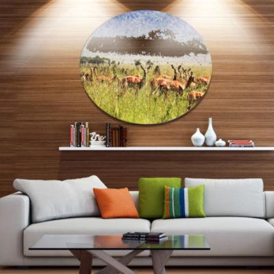 Designart Beautiful Antelope in Grass African Landscape Metal Circle Wall Art