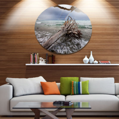 Designart Fallen Tree in Storm At Seashore Seascape Metal Circle Wall Art