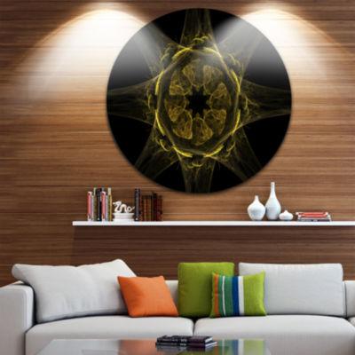 Designart Glowing Golden Radial Fractal Flower ArtFloral Metal Circle Wall Art